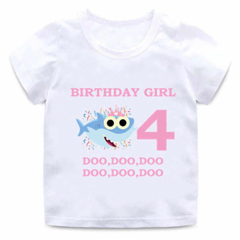 ฤดูร้อนเด็กชายหญิงเสื้อผ้าเด็กการ์ตูนตลกเสื้อยืด 1-9 พิมพ์ Happy วันเกิดเสื้อผ้าสำหรับเด็ก