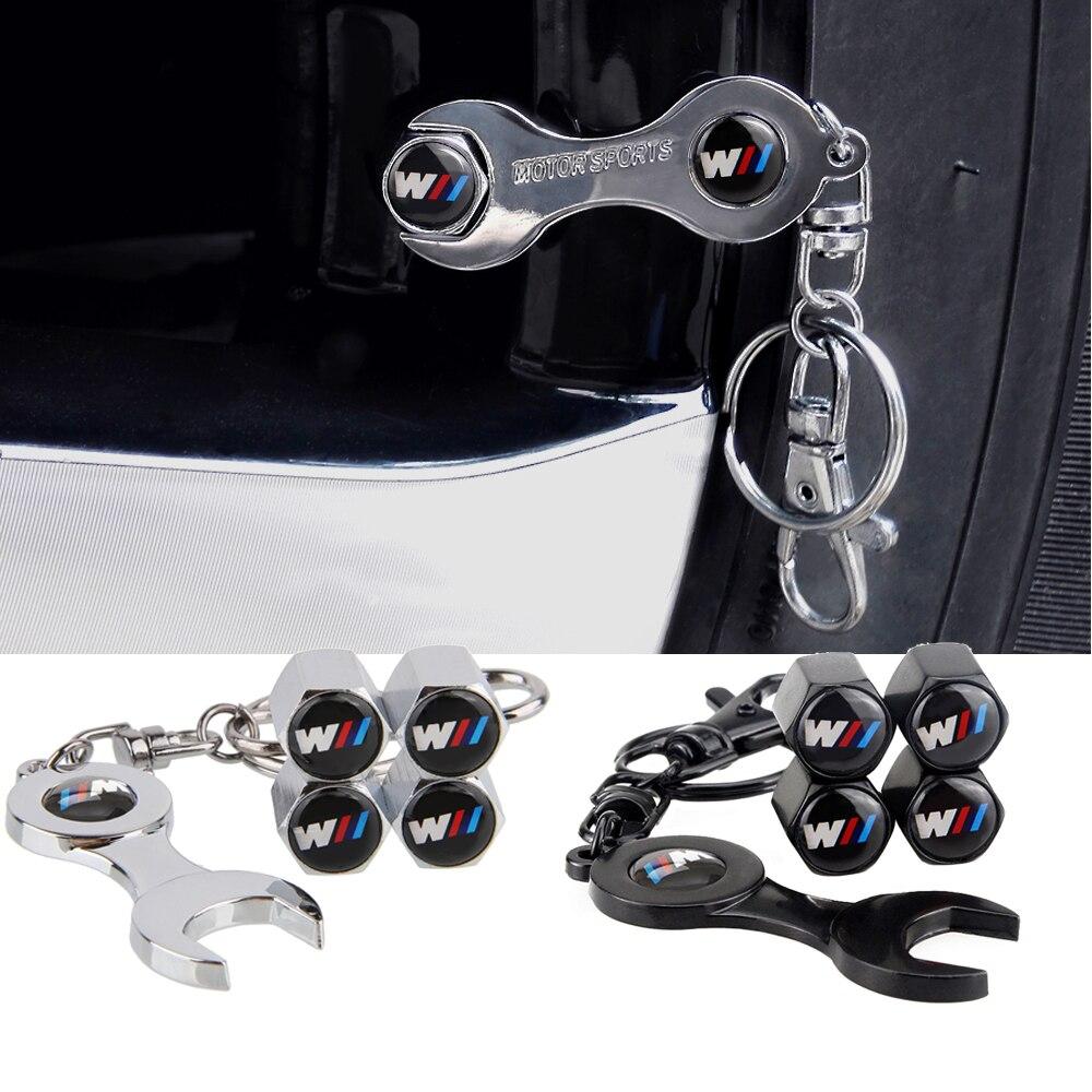 Wheel Tire Valve Caps for BMW M Power M3 M5 E30 E36 E39 E46 E60 E53 E87 E90 F10 F15 F20 F30 G20 G30 Z4 with Mini Wrench KeyChain
