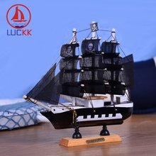 LUCKK 20CM Handmade Pirate Wooden Model Ship Skull Home Interior Decor Miniature Caribbean Nautical Classics Wood Crafts