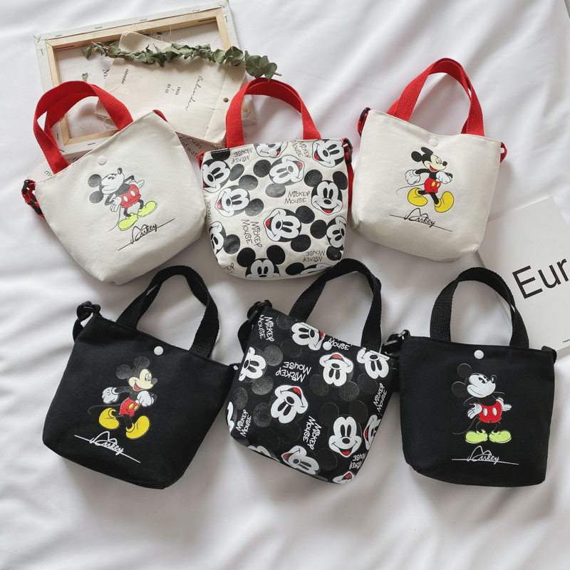 Disney Cartoon Cute Mickey Mouse Diagonal Shoulder Bag Portable Korean Canvas Small Bag  Kid Girls Coin Bags