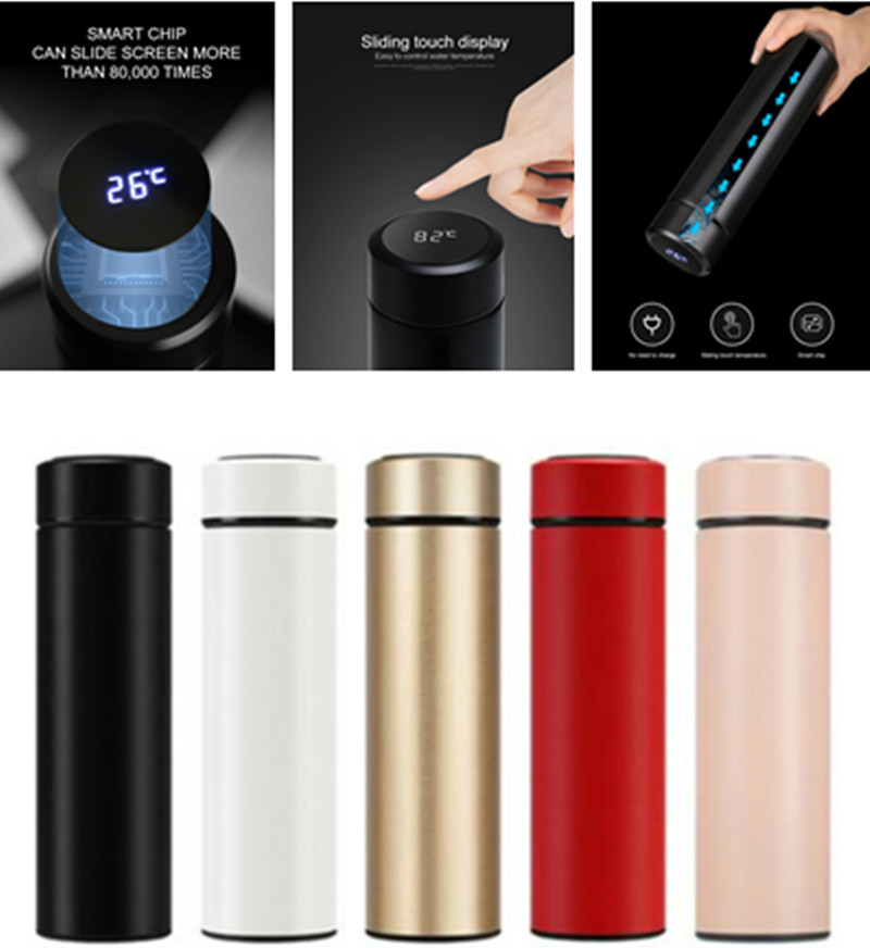 led touch screen temperature display 500ml thermos water bottle vacuum insulated mug 304 stainless steel
