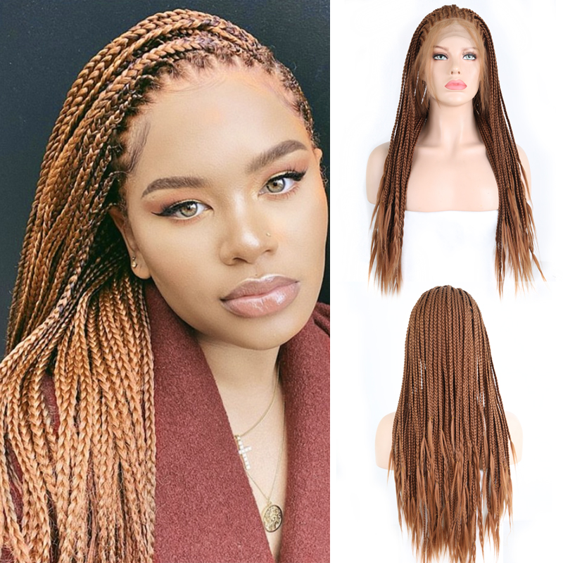 Charisma  Brown Hair Wigs Braided Box Braids Wig With Baby Hair Synthetic Lace Front Wig For Women Long Hair Lace Wig