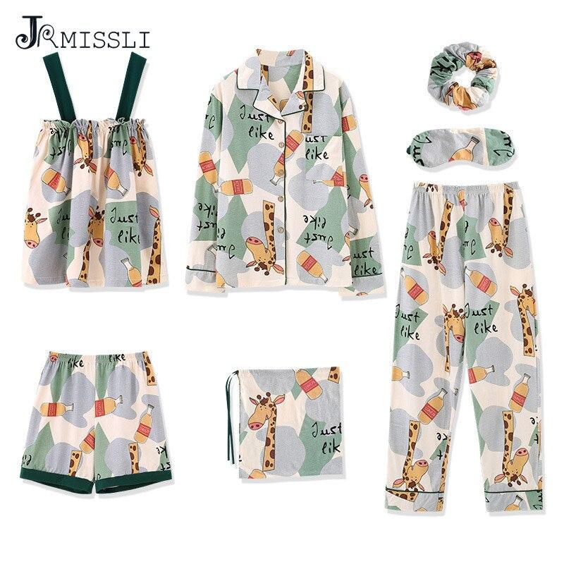 JRMISSLI Cartoon Dog Sexy Sleeping Pijamas Sleepwear Spring Cotton 7 Pieces Pajama Set Pyjama Femme Home Clothes