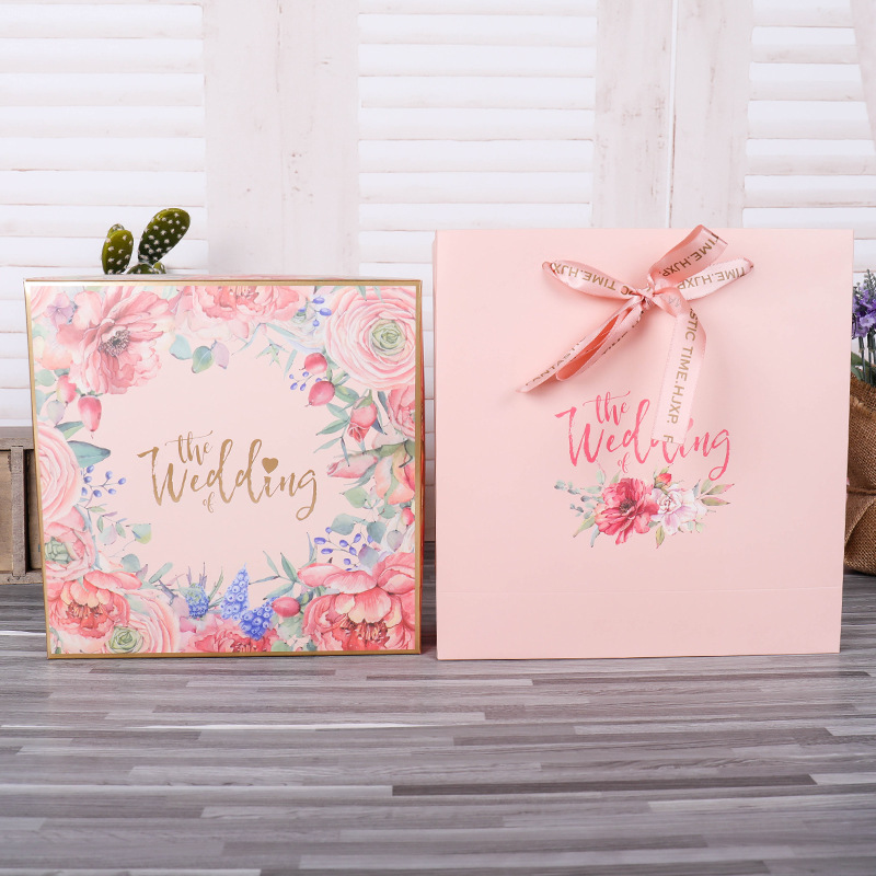 European Wedding Sugar Boxes gift bags with handles party favors candy box paper bags for gifts box packaging box Customization