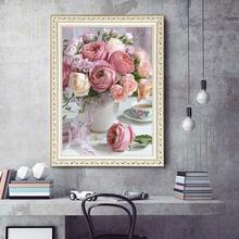 5D Diamond Painting Peony Flower Vase Paints by Numbers Frameless DIY Cross Ctitch Kits Home Decoration