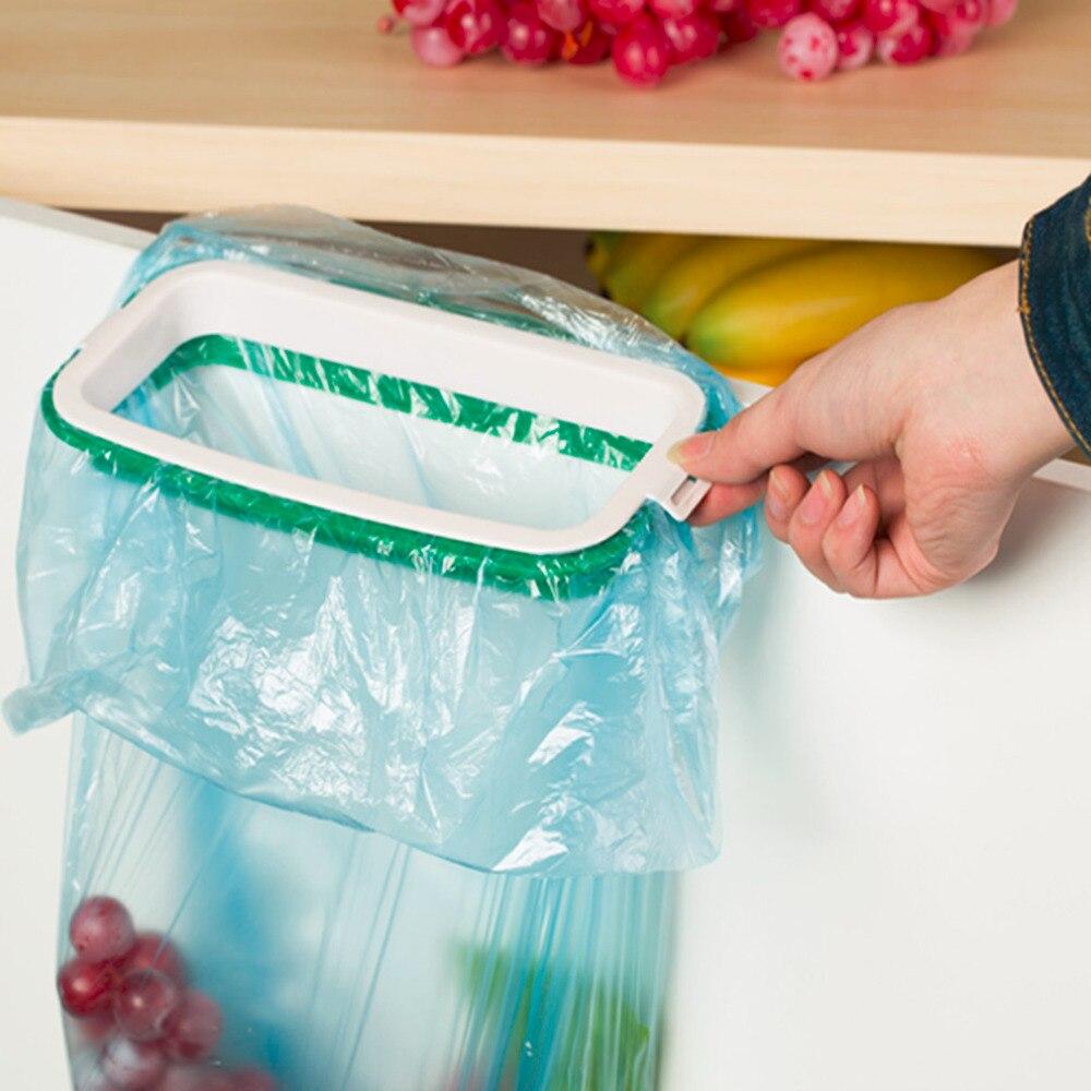 Solid Hanging Kitchen Cupboard Door Back Stand Trash Garbage Bag Storage Rack