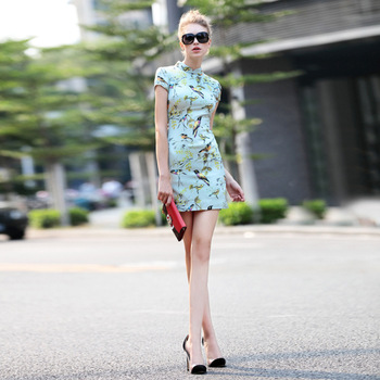 Chinese Traditional Modern Improved Qipao Dress Retro Stand Collar Printing Party Short Sexy Cheongsam Dresses