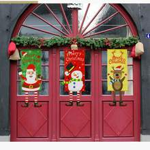 Get more info on the Creative Christmas hanging flags Santa Claus snowman elk window hanging wall cloth christmas gift new year home decorCM