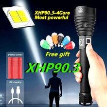 Lampe torche Rechargeable USB la plus puissante, torche à main tactique, 300000 lumens, XHP90.3 XHP90 XHP50 XHP70, 18650