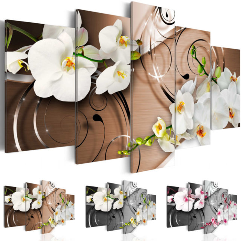 5pcs Modern Oil Painting On Canvas Abstract Flower Orchid Wall Decor Hanging Decor For Living Room High Quality(No Frame)