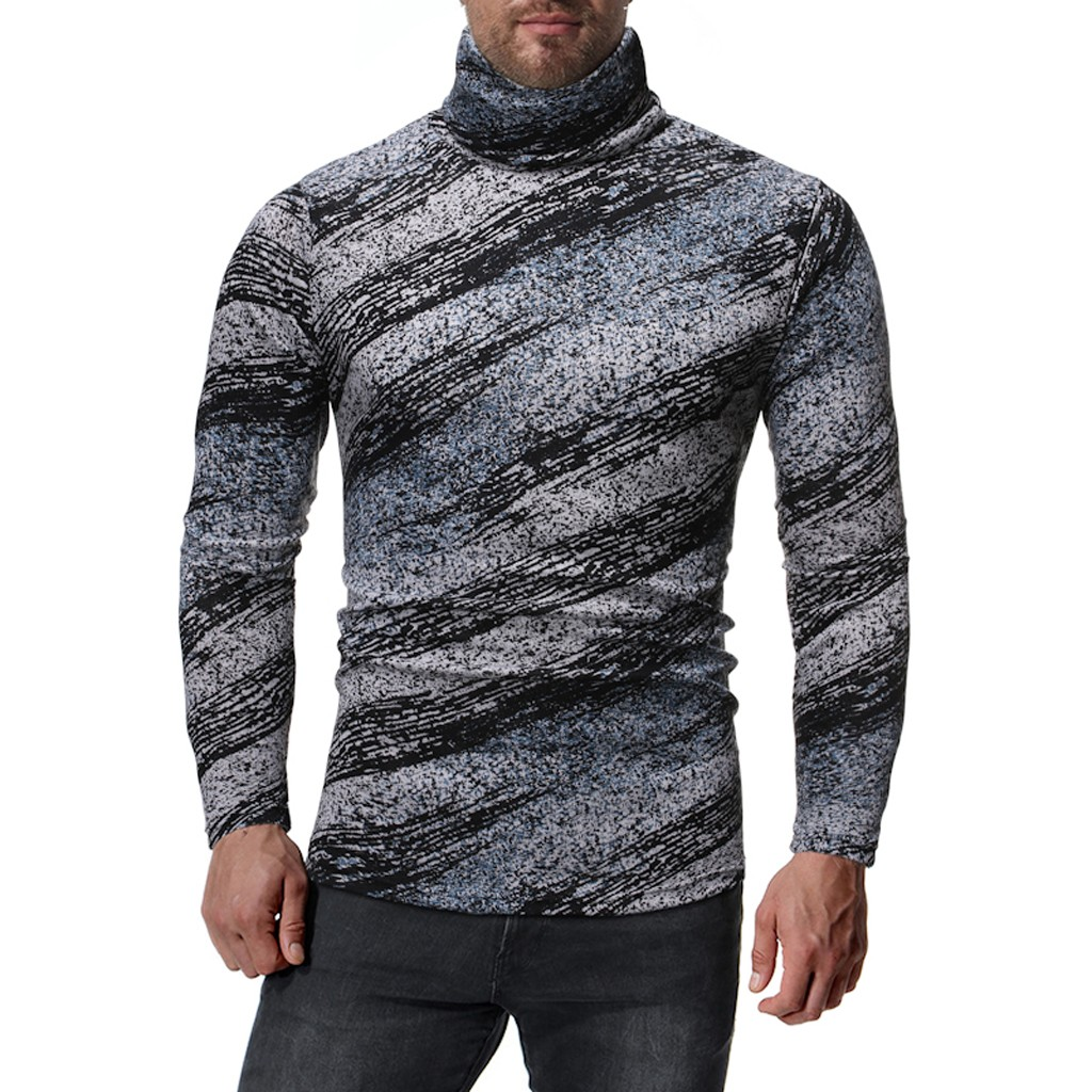 Fashion Blouse Men New Autumn Winter Pullover Knitted Sweater Printed Top Casual Outwear Long Sleeve Cotton Slim Blouse Hot Sale