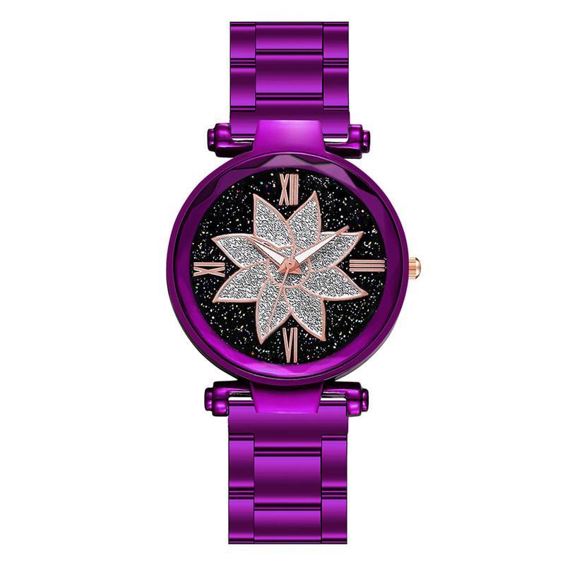 Elegant Fashion Stainless Steel Ladies Wristwatches Luxury Brown Women Bracelet Watches Woman Flower Quartz Clock Dames Horloges in Women 39 s Watches from Watches