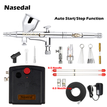 Nasedal 9cc Dual-Action Airbrush Compressor Auto Stop Function Airbrush Spray Gun Nail Art Cake Car Painting Makeup Model