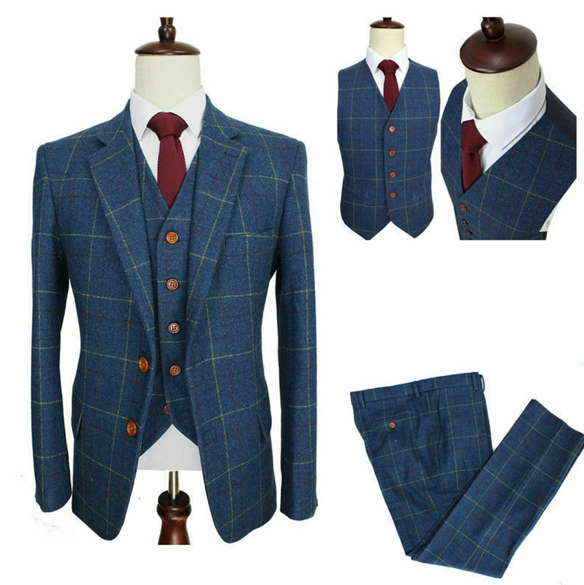 2020 Vintage Blue Windowpane Mens Wool Two Button Notch Lapel Suits Formal Wear Check Tuxedos Peaky Blinder