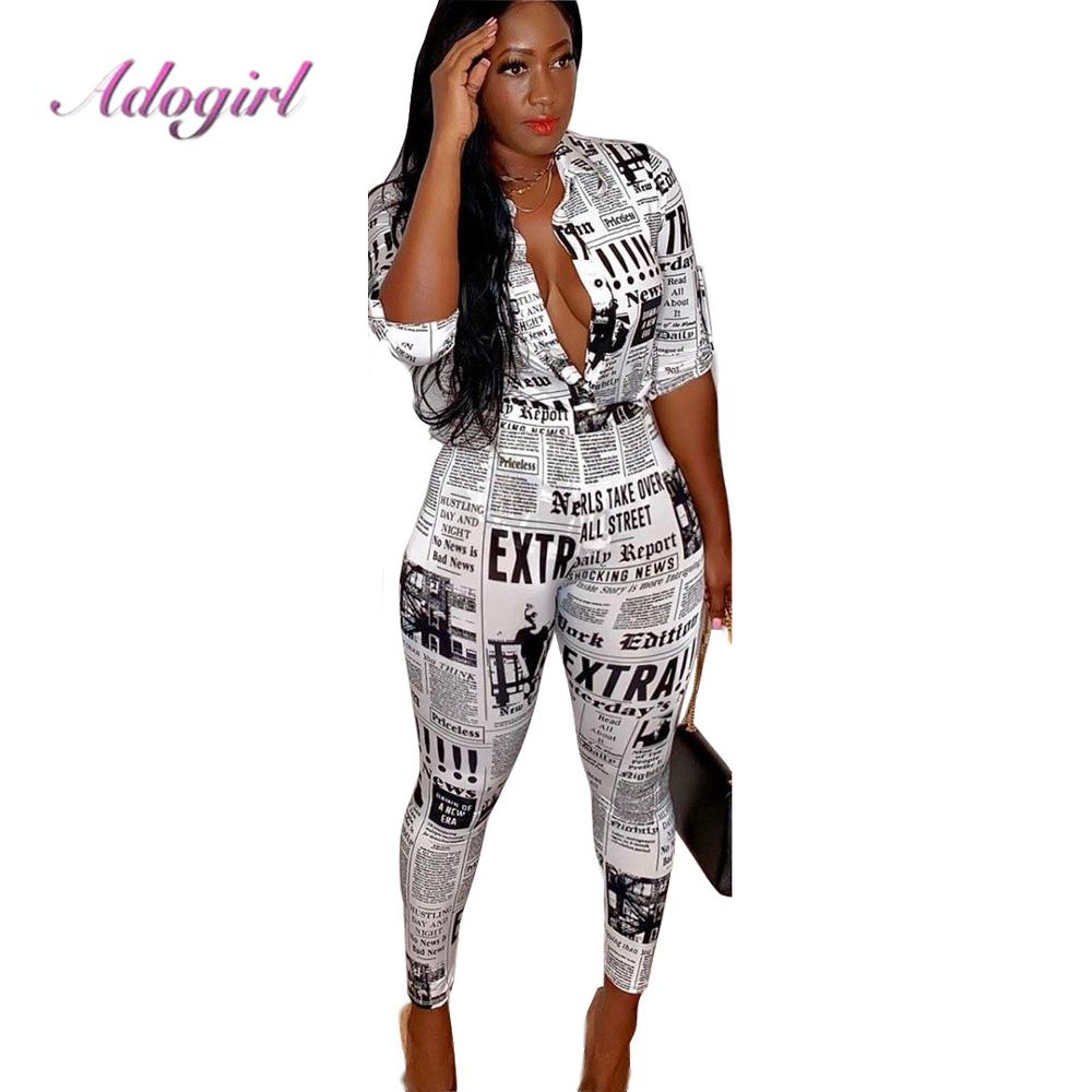 Adogirl Casual Newspaper Print Women Two Piece Set Suit 3/4 Sleeve Shirts Top + Pencil Pants Female Outfit Streetwear Tracksuit