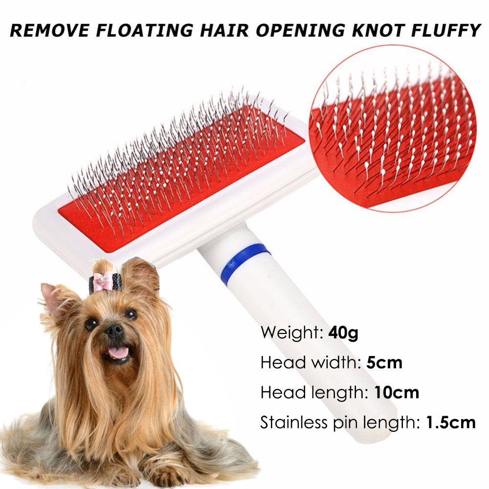 Healthy Hairbrush Red Puppy Dog Cat Hair Grooming Slicker Comb Gilling Brush Quick Clean Tool