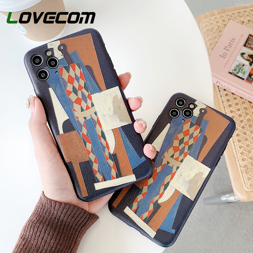 LOVECOM Geometric Abstract Artistic Phone Case For IPhone 11 Pro Max XR XS Max 7 8 6 6S Plus X Cute Retro Soft Back Cover Gift