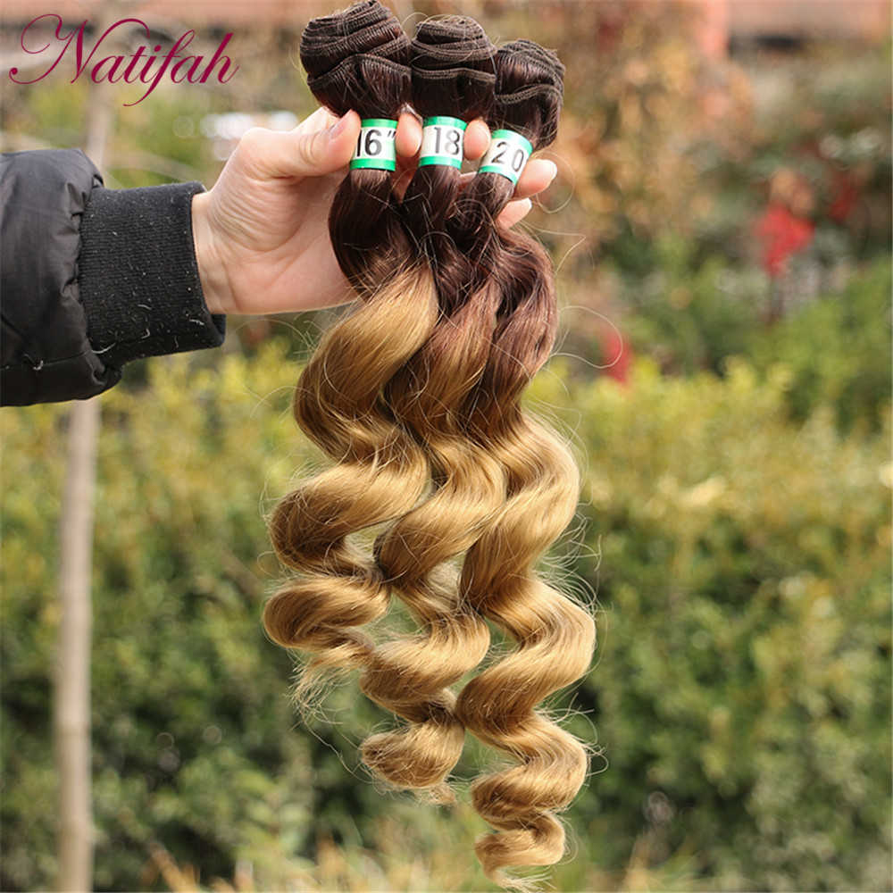 Natifah أومبير شعر أشقر حزم فضفاض نسج ضفيرة شعر برازيلي حزم 16 18 20 بوصة تطويلة شعر من الألياف للمرأة