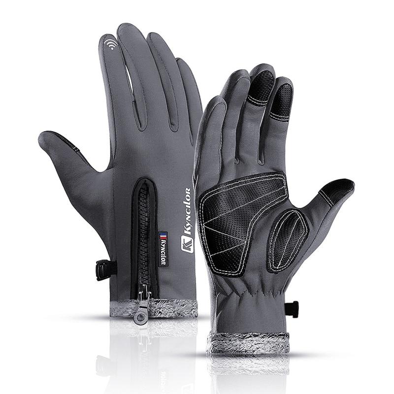 Men's Winter Touchscreen Ski Gloves Women's Windproof Warm Driving Gloves With Fleece Waterproof Fishing Gloves