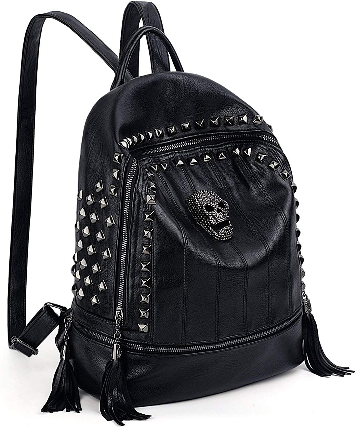 Women Skull Backpack Rivet Studded Fashion Daypack Gothic Purse Tassel Zipper title=