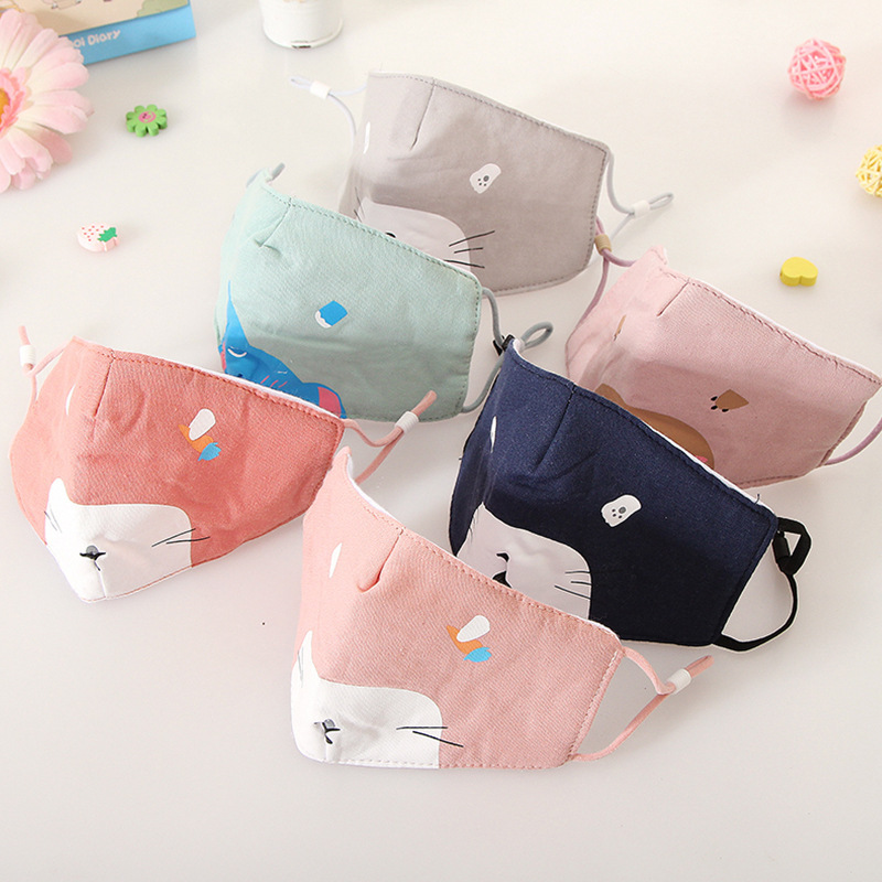 3-9Y Kids Cotton Mouth Masks Printing Dustproof Breathable Kids Mouth Face Nose Mask Cover Respirator Anti-Dust