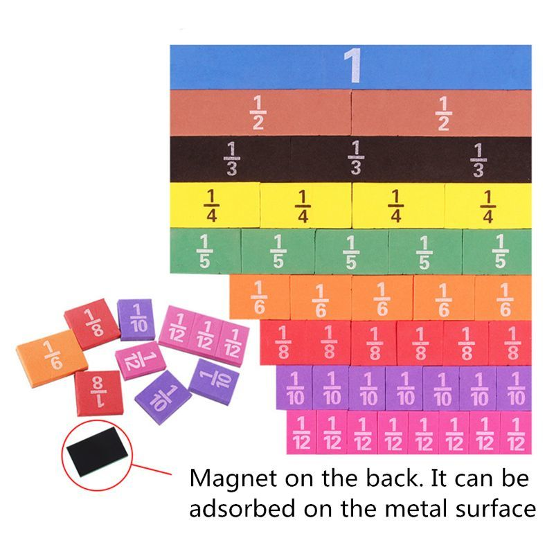 51pcs Colorful Magnetic Rainbow Counting Fraction Tiles Math Toys Mathematics Montessori Teaching Kids Learning Educational Toys
