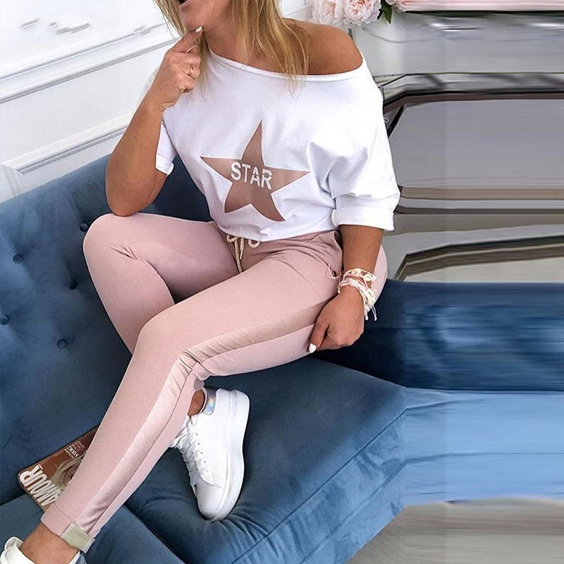 2020 Women Two Piece Matching Sets Star Print Top & Drawstring Design Pant Sets Chic Casual Sweatsuit Women's Sets