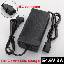 цена на 54.6V 3A lithium battery e-bike charger for 48V Li-ion Battery pack electric bike Charger 3P Plug IEC connector With fan