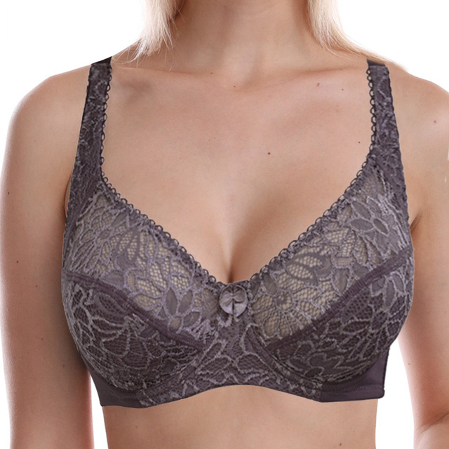 Womens Lace Bra Lager Bosom See through Bralette Thin Cup Underwired Sexy Lingerie Bralette 34-44 B C D DD E F Cup
