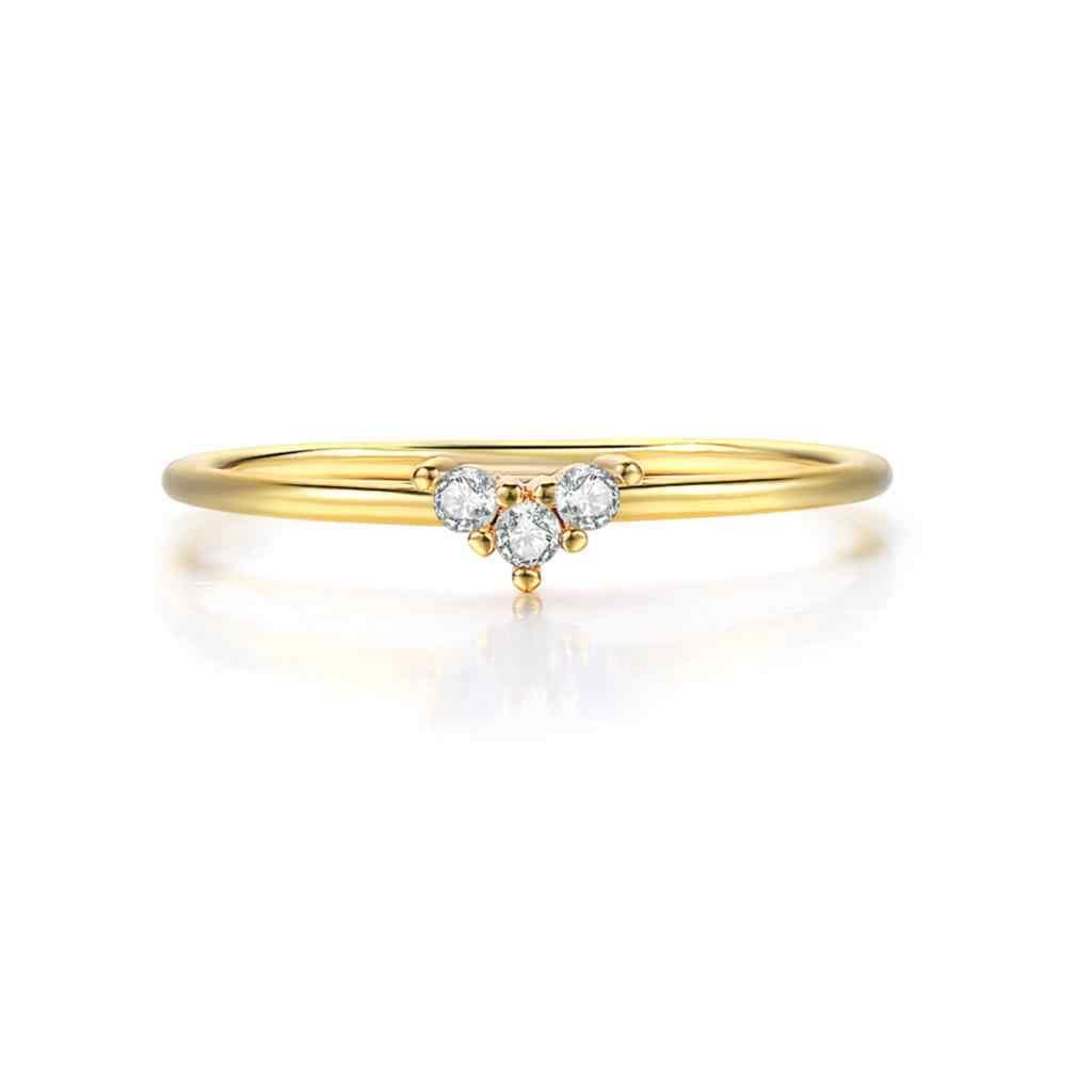 Eintrag Lux Wenig Herz Dünne Ringe Für Frauen Licht Gelb Gold Farbe AAA + CZ GIF Für Party Täglichen Mode schmuck KAR173