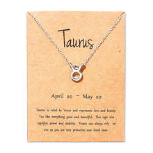 New Taurus Virgo Cancer Message Card Jewelry 12 Constellation Pendant Necklace Silver Chain Necklaces For Women Birthday Gift