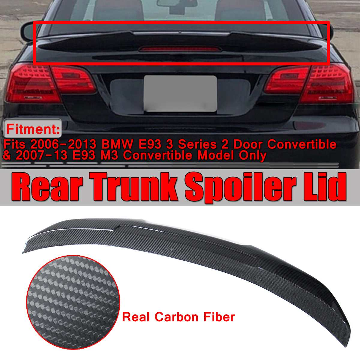 New Real Carbon Fiber HighKick Car Trunk Rear Racing Spoiler Wing Lid For BMW E93 3 Series 2Dr 335i 328i M3 Convertible 2007-13 image