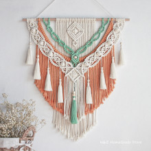 Hand-woven Colour Tapestry Macrame Wall Hanging Art Woven Bohemian Crafts Decoration Gorgeous Tapestry For Home Bedroom 60*75cm