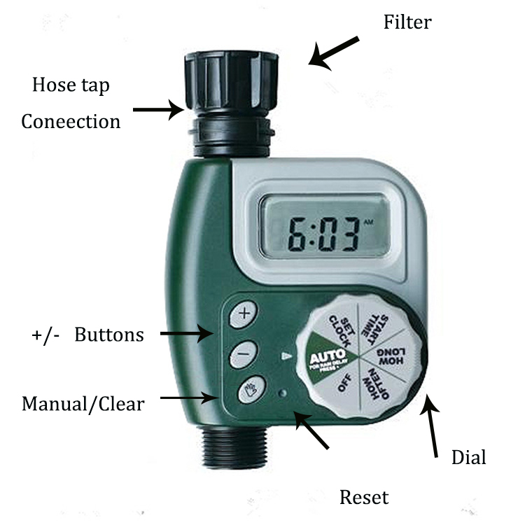 Water Timer Automatic Programmable Irrigation Controller System Solenoid Valur Hose Faucet For Outdoor Garden Single Outlet