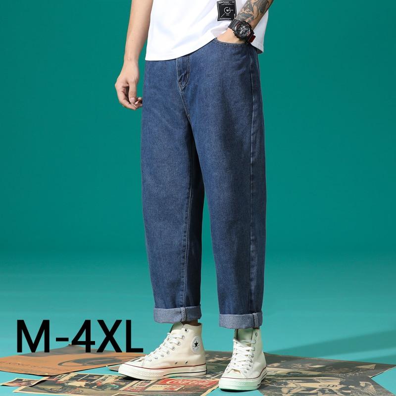 Big Size M-4XL Summer Plus Size Men's Casual Jeans Clothing Large Size Denim Jeans Male Black Gray Blue Loose Straight Pants