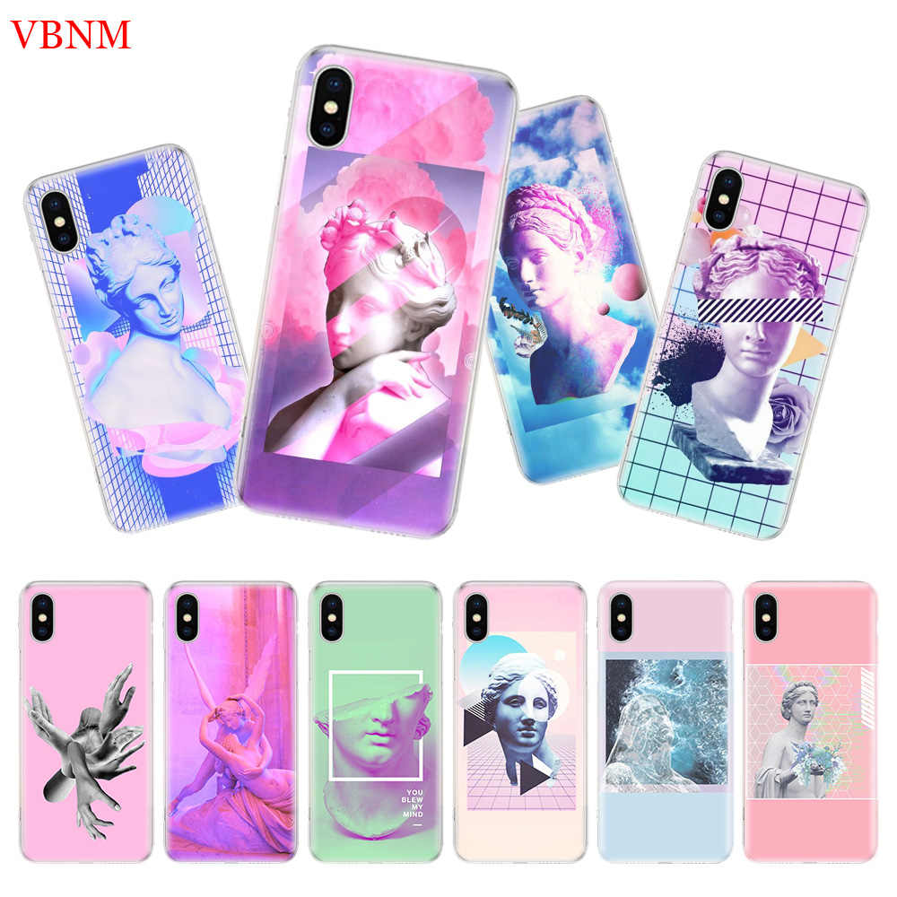 Ретро винтажная художественная статуя розовая задняя крышка телефона чехол для iPhone 7 8 6 6S Plus X 10 Ten XS MAX XR 5 5S SE Art Fashion Shell Coque