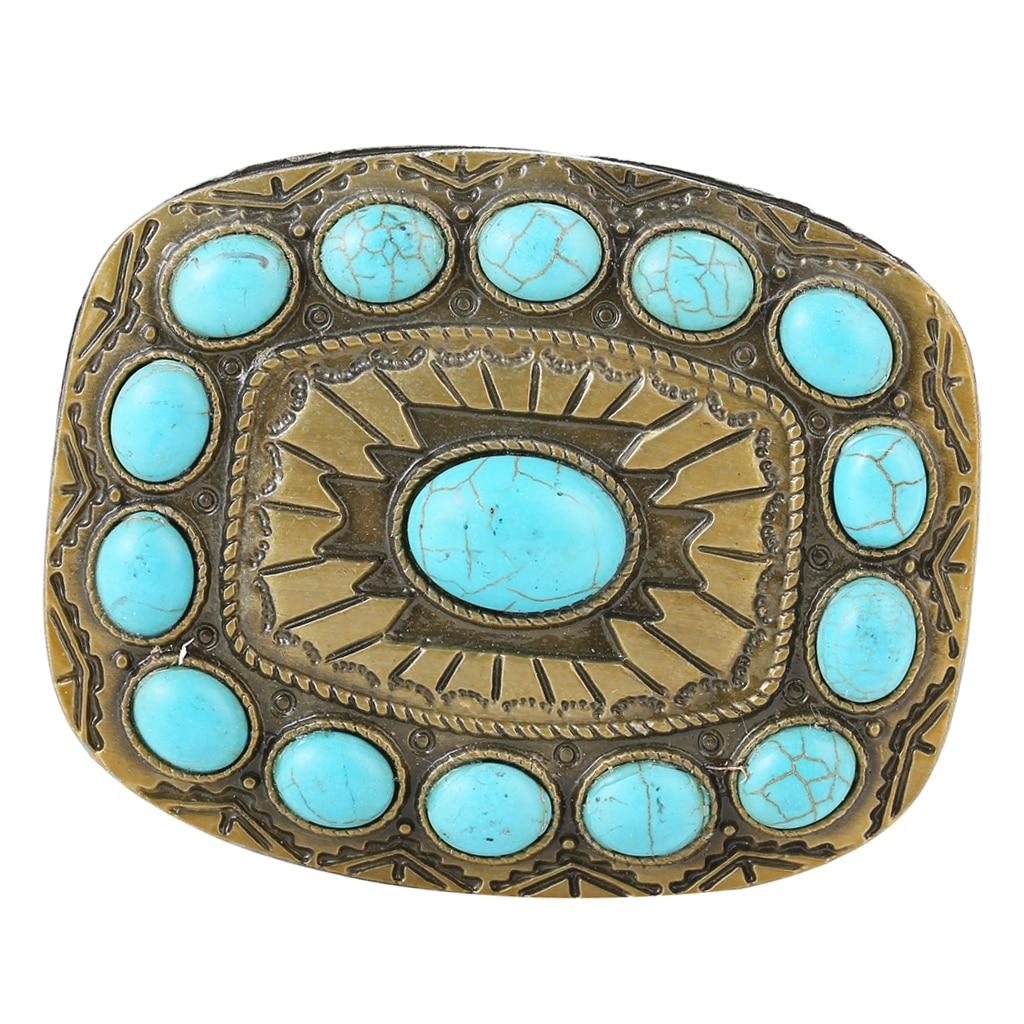 Vintage Antique Turquoise Belt Buckle DIY Western Cowboy Style