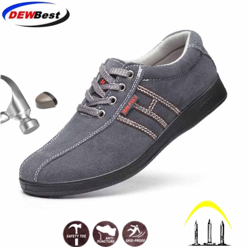 Onverwoestbaar leer ademend lichtgewicht zachte bodem antislip casual werkschoenen veiligheidsschoenen anti-statische casual schoenen
