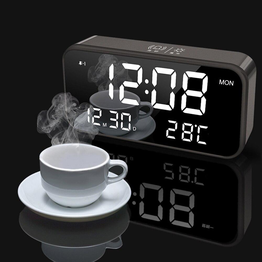 침실 충전식 큰 디지털 미러 Led 음악 알람 시계 스누즈, 달력, 온도 온도계, 소리 제어 빛
