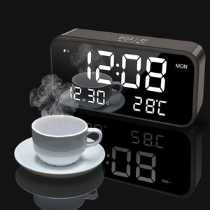 Bedroom Rechargeable Big Digital Mirror Led Music Alarm Clock with Snooze,Calendar,Temperature Thermometer,Sound Control Light(China)