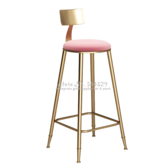 Best  Pink Nordic Golden Metal High Feet Bar Chair Casual Stool Simple Durable Stable Cafe Armchair With Soft Cushion Anti-slip