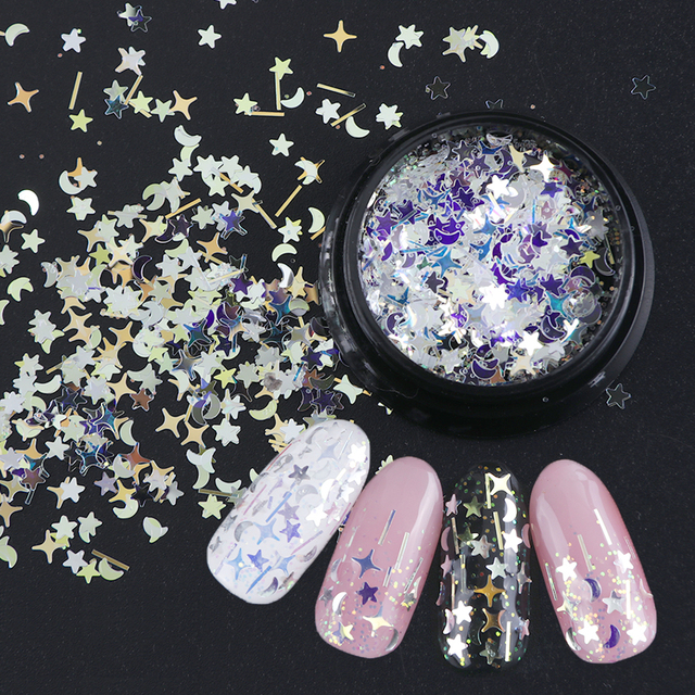 1 Bottle Laser Nail Glitter Holographic Sequins Mixed Flakes Star Crescent Paillette Powder Spangle 3D Nail Art Decoration BE779