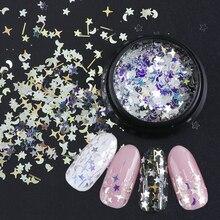 Lantejoulas holográficas para unhas, arte decorativa 3d, 1 garrafa laser, flocos misturados, estrela crescente, pailletta em pó, espátula, 3d, be779