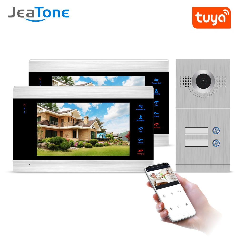 Tuya Smart Life app WiFi Smart Wired Multi Apartment Video Door Phone Intercom System 1200TVL Camera Touch Key for 2 Apartments