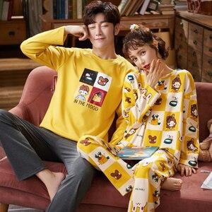 Image 3 - Cặp Đôi Loungewear Pijama Thu Đông Mới Thời Trang Cặp Đôi Bộ Đồ Ngủ Nam Nữ Phù Hợp Với 100% Cotton Đồ Ngủ Pyjama Set Bộ Cặp Đôi