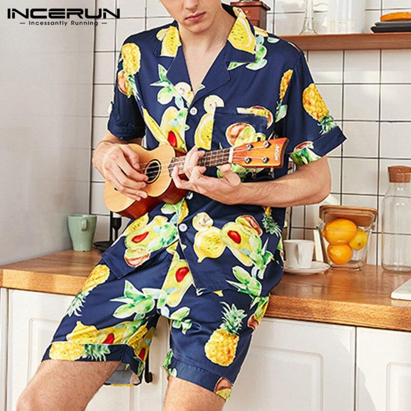 INCERUN Summer Fashion Men Sleepwear Sets Silk Satin Fruit Printed Pajamas Sets Casual Short Sleeve Tops & Shorts Homewear S-5XL