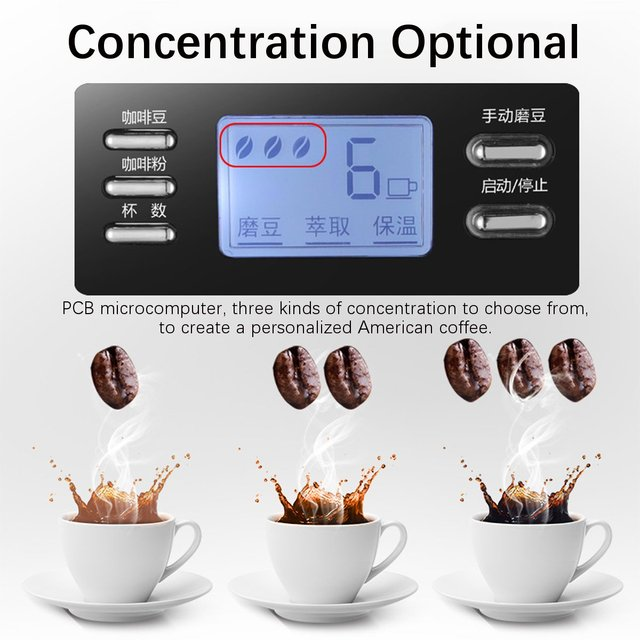 Electric Coffee Maker Machine Household Fully-Automatic Drip Coffee Maker 1200ml Tea Coffee Pot Home Kitchen Appliance 220V 3