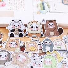 40 pces manual etiqueta bonito expressão pacote manual em torno de ins caseiro vento menina decorado com pequenos padrões pandas