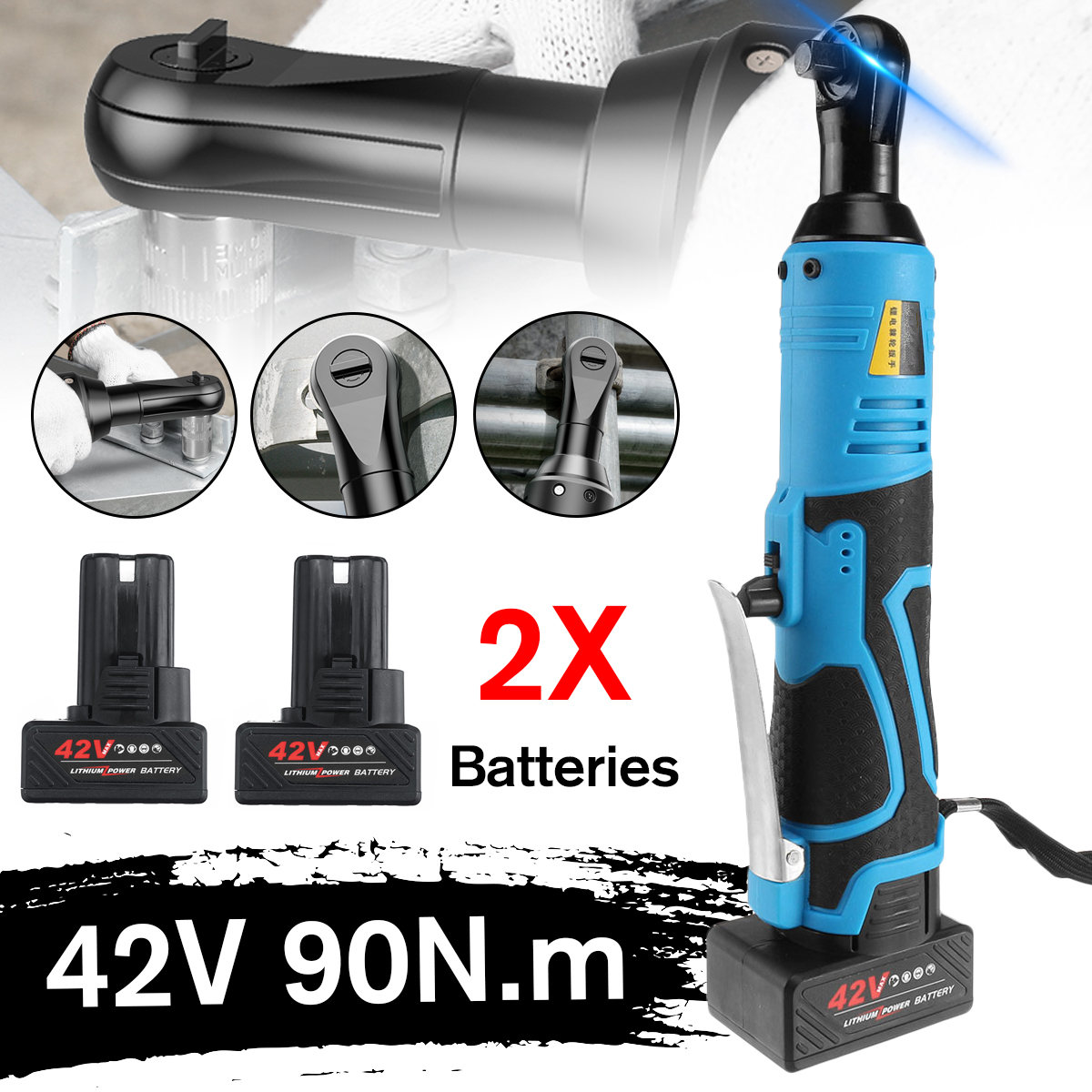 Electric Wrench 42V 3 8inch Cordless Ratchet Rechargeable Scaffolding 90N m Right Angle Wrench Tool with 1 2 Battery Charger Kit