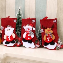 Christmas Gift Bags Linen Candy Bag Stocking Hanging Ornament Decoration